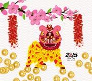 狮子跳舞和春节与爆竹 向量例证