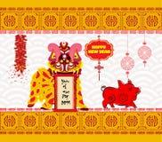 狮子跳舞头和春节2019年与爆竹 皇族释放例证