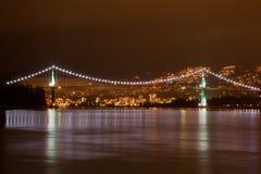 狮子门桥梁在温哥华 免版税库存照片