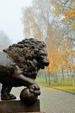 狮子雕塑特写镜头在博物馆附近的在诺夫哥罗德克里姆林宫, Veliky诺夫哥罗德,俄罗斯 库存照片