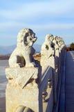 狮子雕塑石头 免版税图库摄影