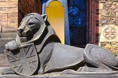 狮子雕塑,苏格兰全国战争纪念建筑在爱丁堡,苏格兰 库存图片