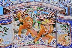 狮子雕象在孔子寺庙会安市,越南联合国科教文组织世界遗产名录 免版税库存照片