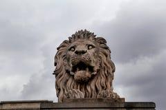 狮子雕象在有背景天空的布达佩斯 库存图片