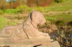 狮子雕象特写镜头 免版税库存图片