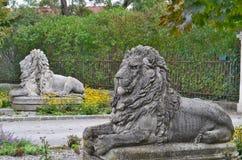 狮子雕象,对城堡,垫铁镇的入口  免版税库存图片