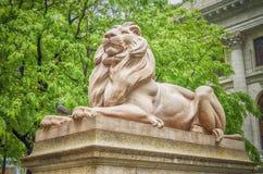 狮子雕象,纽约城 图库摄影