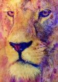 狮子面孔和图表作用 计算机拼贴画 库存照片