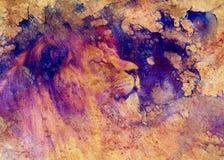 狮子面孔和图表作用 计算机拼贴画 免版税库存照片