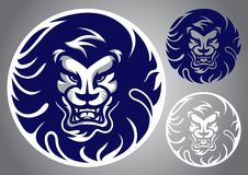 狮子顶头蓝色商标传染媒介 库存例证