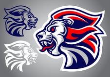 狮子顶头蓝色红色商标传染媒介 向量例证