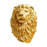 狮子顶头金子,在白色背景隔绝的金黄狮子头面孔雕象 图库摄影