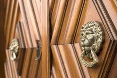 狮子顶头敲门人 免版税库存图片
