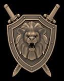 狮子顶头纹章 免版税库存照片
