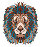 狮子顶头zentangle传统化了,导航,例证,徒手画的笔 免版税库存图片