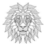 狮子顶头zentangle,乱画风格化,传染媒介,例证,手 免版税库存照片