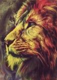 狮子颜色摘要 在颜色摘要的背景狮子 向量例证