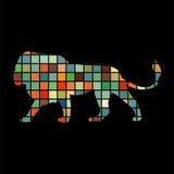狮子食肉动物的颜色剪影动物 库存例证
