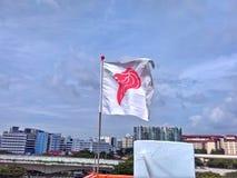 狮子头标志旗子  免版税库存图片