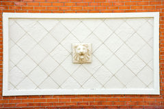 狮子头雕象  图库摄影