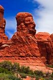 狮子` s在双重曲拱附近的头形成在拱门国家公园 免版税图库摄影