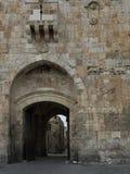狮子` s门,通过Dolorosa,耶路撒冷,以色列 免版税库存图片