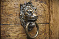 以狮子` s头的形式通道门环 免版税库存图片