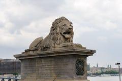 狮子Szechenyi铁锁式桥梁 免版税库存照片