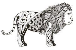 狮子zentangle传统化了,导航,例证,徒手画的铅笔 免版税图库摄影