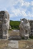 狮身人面象古老哈图沙市,土耳其门入口  免版税库存照片