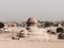 狮身人面象后面金字塔埃及 免版税库存照片