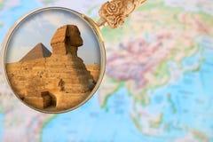 狮身人面象和金字塔在吉萨棉埃及,非洲 图库摄影