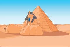 狮身人面象和金字塔埃及 免版税图库摄影