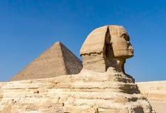 狮身人面象在吉萨棉,有pyriamid的埃及在背景中 免版税图库摄影