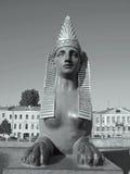 狮身人面象的黑白照片在圣彼德堡 免版税图库摄影