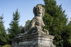 狮身人面象雕象在赖因斯贝尔格宫殿公园  免版税图库摄影