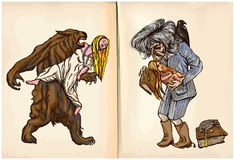 狼人和中午巫婆-手拉的传染媒介 库存照片