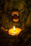 狼人头和生长一个蜡烛的手 免版税库存照片