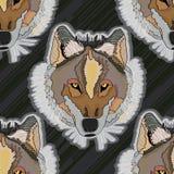 狼凉快的无缝的样式 免版税库存图片