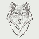 狼剪影画象  免版税库存图片