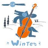 狼和低音提琴在冬天夜 免版税库存图片
