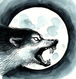 狼和月亮 库存例证
