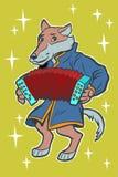 狼演奏手风琴口琴 童话字符 皇族释放例证