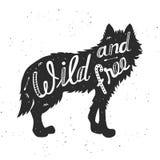 狼的剪影 免版税库存图片