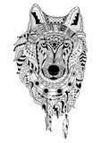 画黑狼的线艺术手隔绝在白色背景 Dudling样式 Tatoo Zenart 成人的着色 库存照片