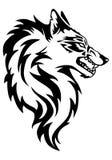 狼面孔纹身花刺的例证 免版税库存照片
