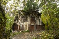 狼` s穴,阿道夫・希特勒` s地堡,波兰 第一个东部前面军总部,二战 炸毁的复合体,放弃 免版税库存照片