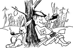 猎人兔子 免版税库存照片