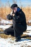 猎人冬天 库存照片