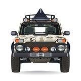 猎人汽车在平的样式的传染媒介例证 免版税库存图片